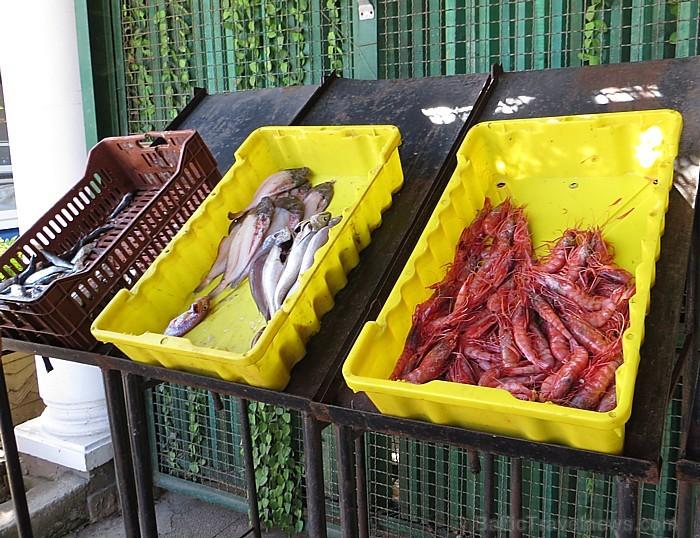 Kā jau pilsētā pie jūras, piedāvājumā ir arī svaigas zivis